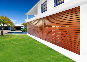 Eurowood Aluminium Privacy Screens and wood grain slats